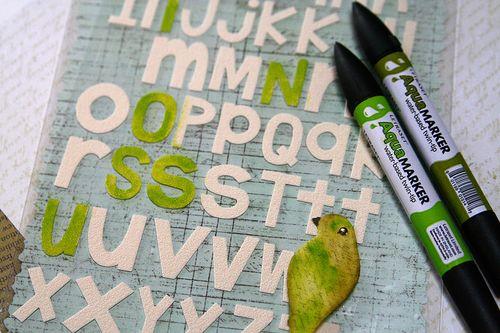 Canvas letters aquamarker