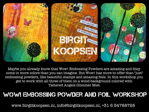 Wow embossing powder and foil workshop banner