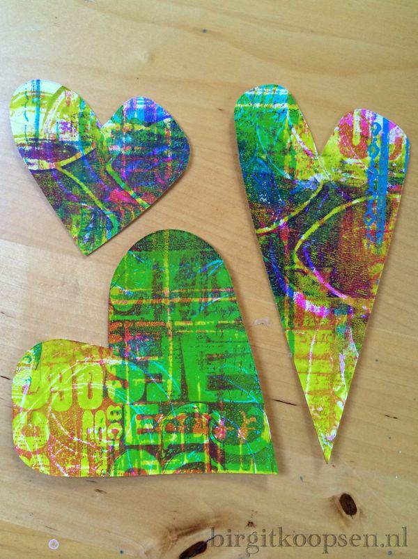 Sizzix and gelli plate hearts - birgit koopsen