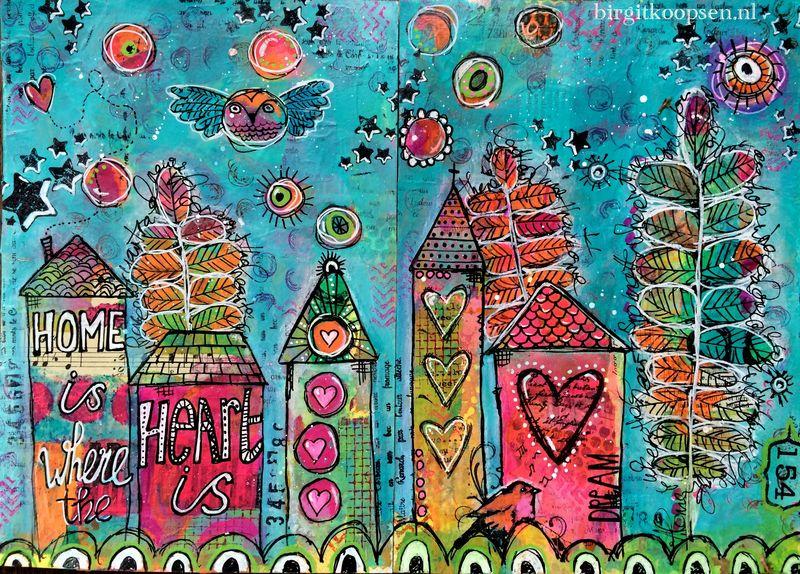 Home is where the heart is - birgit koopsen - art journal
