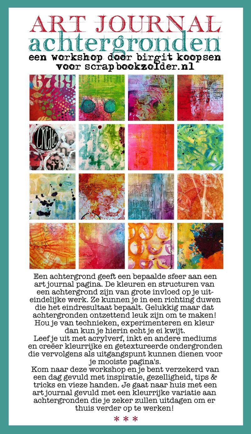 Poster workshop art journal achtergronden scrapbookzolder