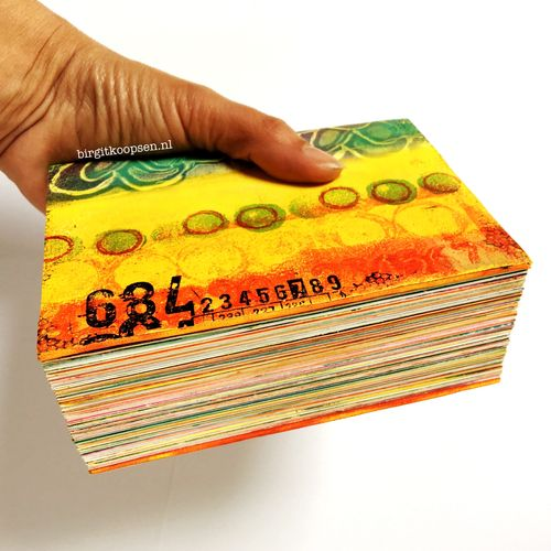 Chunky gelli printed art journal by birgit koopsen 2